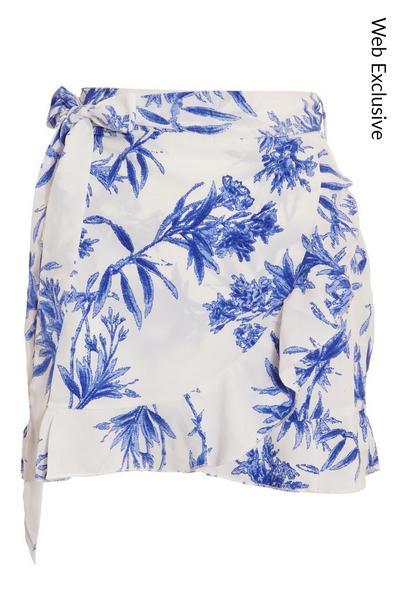 Blue & White Floral Wrap Skirt